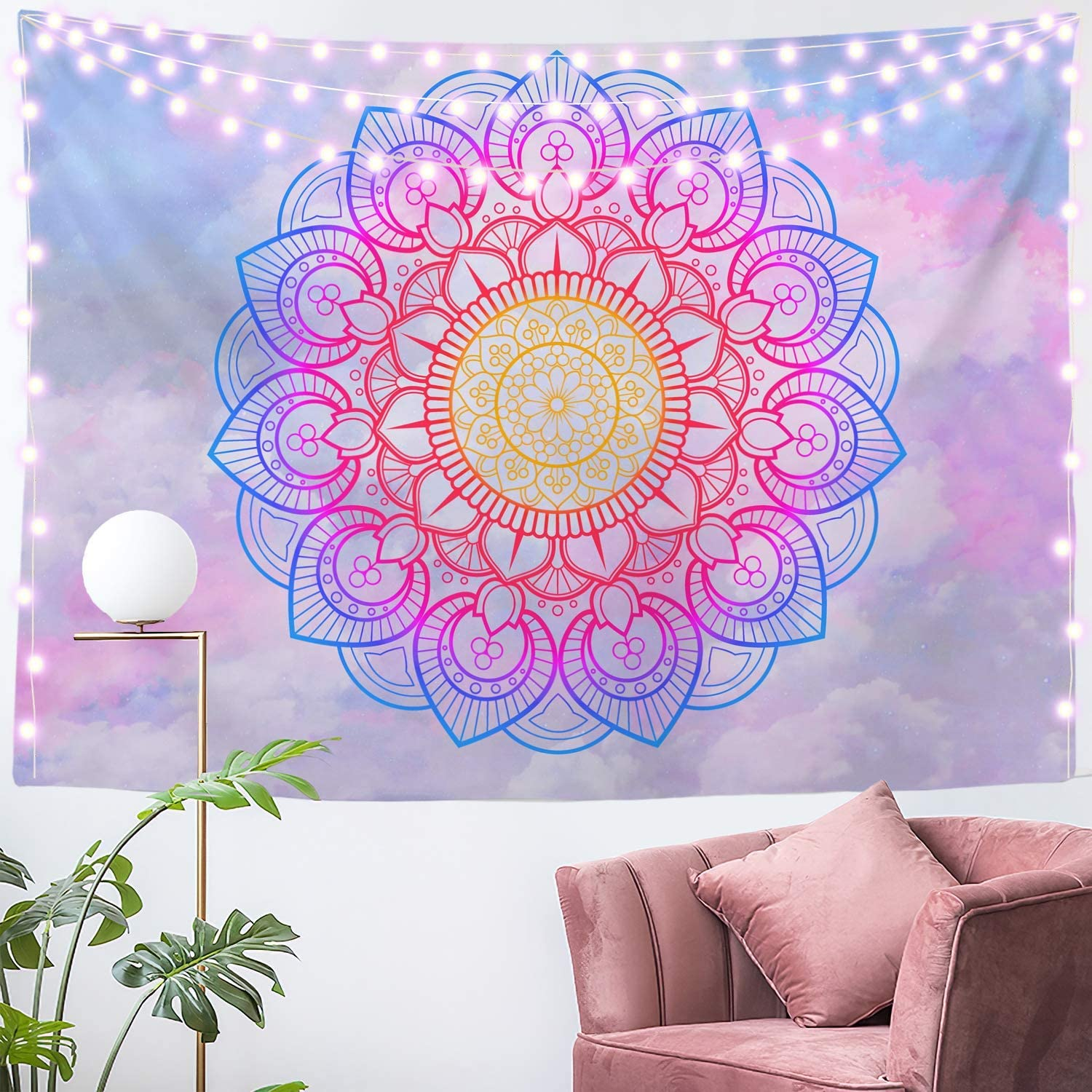 Tapestry Mandala Girls Pink and Blue Wall Hanging Bright Vsco Decor for Teens Bedroom, Living Room and Dorm 59x59 Inches
