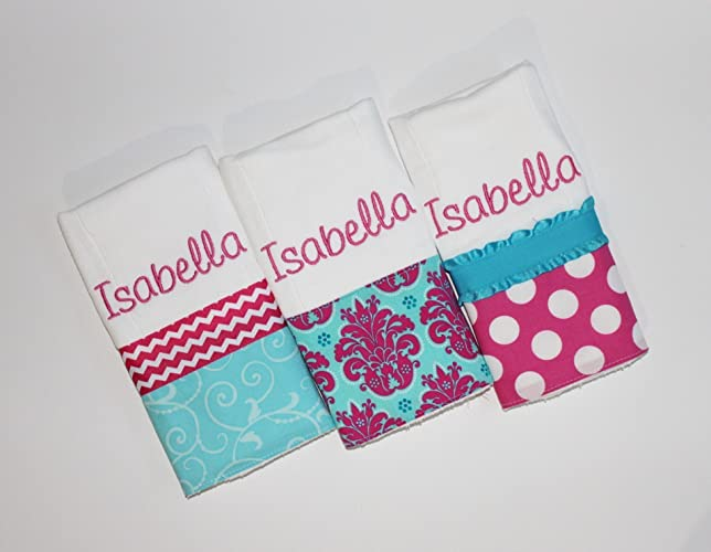 76a824958 Amazon.com: 3 Personalized Baby Girl Burp Cloth Set in Pink and Turquoise -  Polka Dots, Chevron and Damask: Handmade