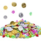 288 Pcs Pirate Gold Coins Pirate Germ Jewelry Treasure for Party Supply Party Favor (144 Coins+144 Gems)