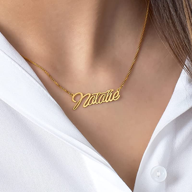 Exquisite Custom Name Necklace Inspirational Message Gifts for 2021 Stainless Steel Customized Jewelry For Women Cursive Font