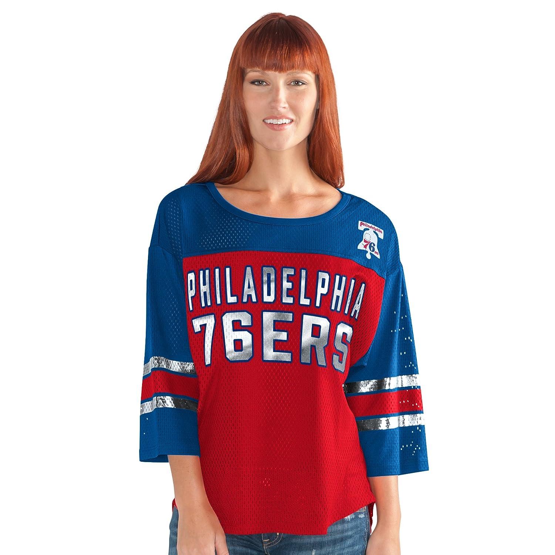 最初チームメッシュトップ B0743NT563 Large|レッド/ ブルー|Philadelphia 76ers レッド/ ブルー Large