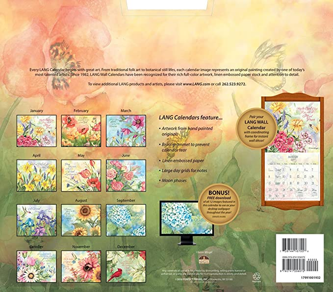 Amazon.com : Lang 2017 Nature\'s Grace Wall Calendar, 13.375 x 24 ...