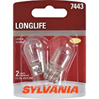 SYLVANIA - 7443 Long Life Miniature - Bulb, Ideal for Daytime Running Lights (DRL) and Back-Up/Reverse Lights (Contains 2 Bulbs)