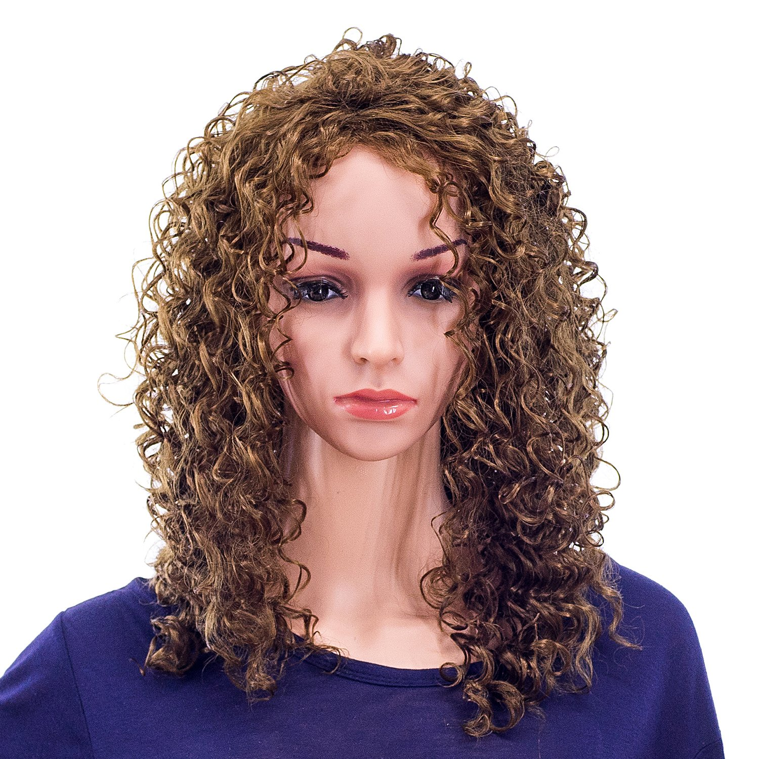 SWACC 20-Inch Long Big Bouffant Curly Wigs for Women Synthetic Heat Resistant Fiber Hair Pieces with Wig Cap (Light Dirty Brown-12#) by SWACC (Image #3)