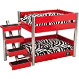 LazyBonezz Metropolitan Wood Pet Bunk Bed for Small Dogs and Cats with 2 Soft Cushions,
