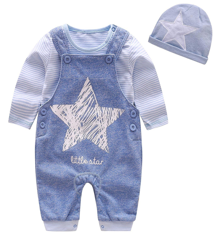 Luoting - (Set/ 3 Piezas) Mono Overall Pantalones Babero para Bebés con Gorro Beanie Estampados de Estrellas Adorable Lindos