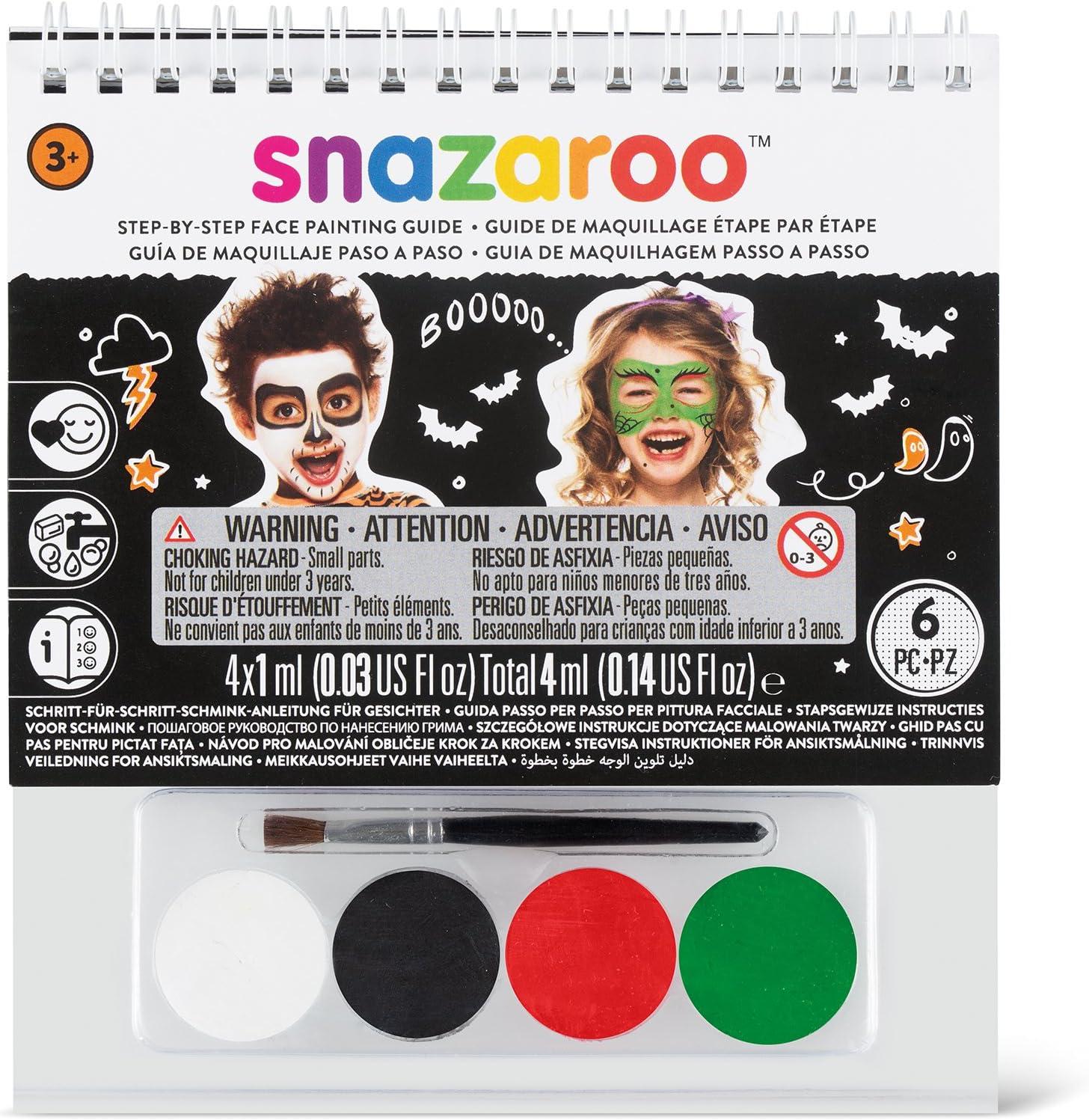 Snazaroo - Manual A6 de maquillaje con pintura facial y guía para pintar en 2 pasos, Halloween: Amazon.es: Juguetes y juegos