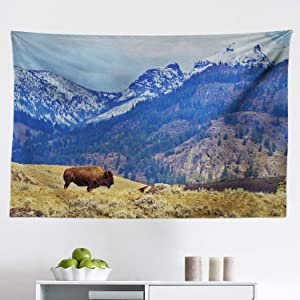"""Ambesonne Wyoming Tapestry, Panoramic Landscape with Lonely Bison and Snowy Mountains at Grand Loop Yellowstone, Fabric Wall Hanging Decor for Bedroom Living Room Dorm, 45"""" X 30"""", Multicolor"""