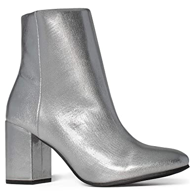 9cb8f742eccd Women s Round Toe Chunky Heeled Side Zip Slim Fit Ankle Booties Silver ...