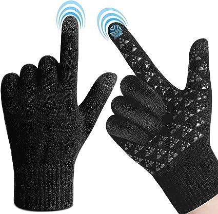 1 Pair Men Gloves Knitted Screen Touch Thicken Anti-Slip Warm Gloves for Man Boy