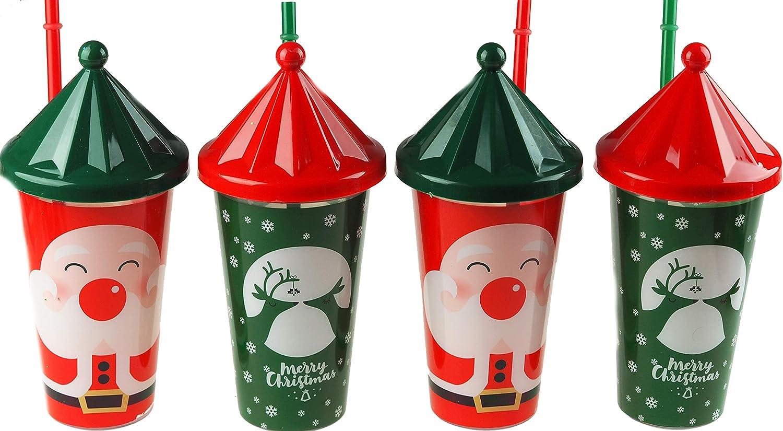 BWG Juego de 4 Vasos de pl/ástico para ni/ños Color Verde y Rojo dise/ño navide/ño