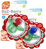 RaZbaby RaZ-Berry Silicone Teether / Double Pack Red & Blue / Multi-texture Design / Hands Free Design