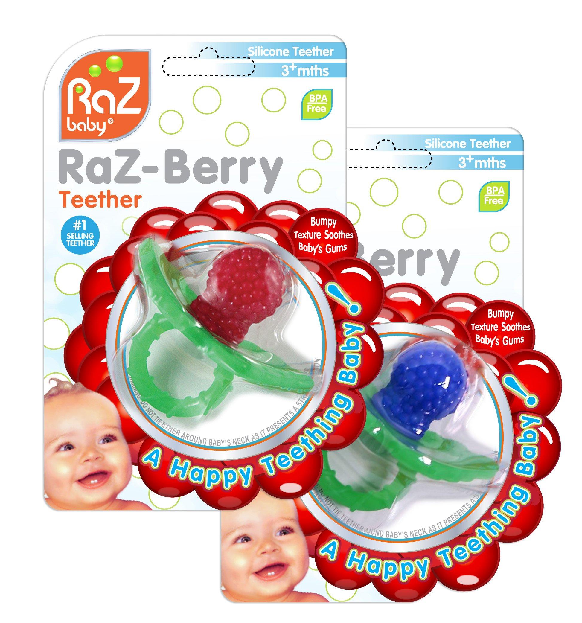 RaZbaby RaZ-Berry Silicone Teether Double Pack Red   Blue Multi-texture a4d5dfc53