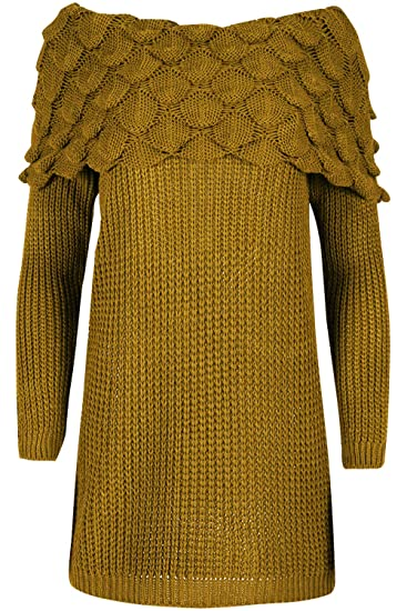 da24182bce3f Be Jealous Womens Off The Shoulder Chunky Knitted Jumper Ladies Patel Frill  Long Sleeve Top