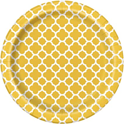 Yellow Quatrefoil Paper Cake Plates 8ct  sc 1 st  Amazon.com & Amazon.com: Yellow Quatrefoil Paper Cake Plates 8ct: Kitchen u0026 Dining