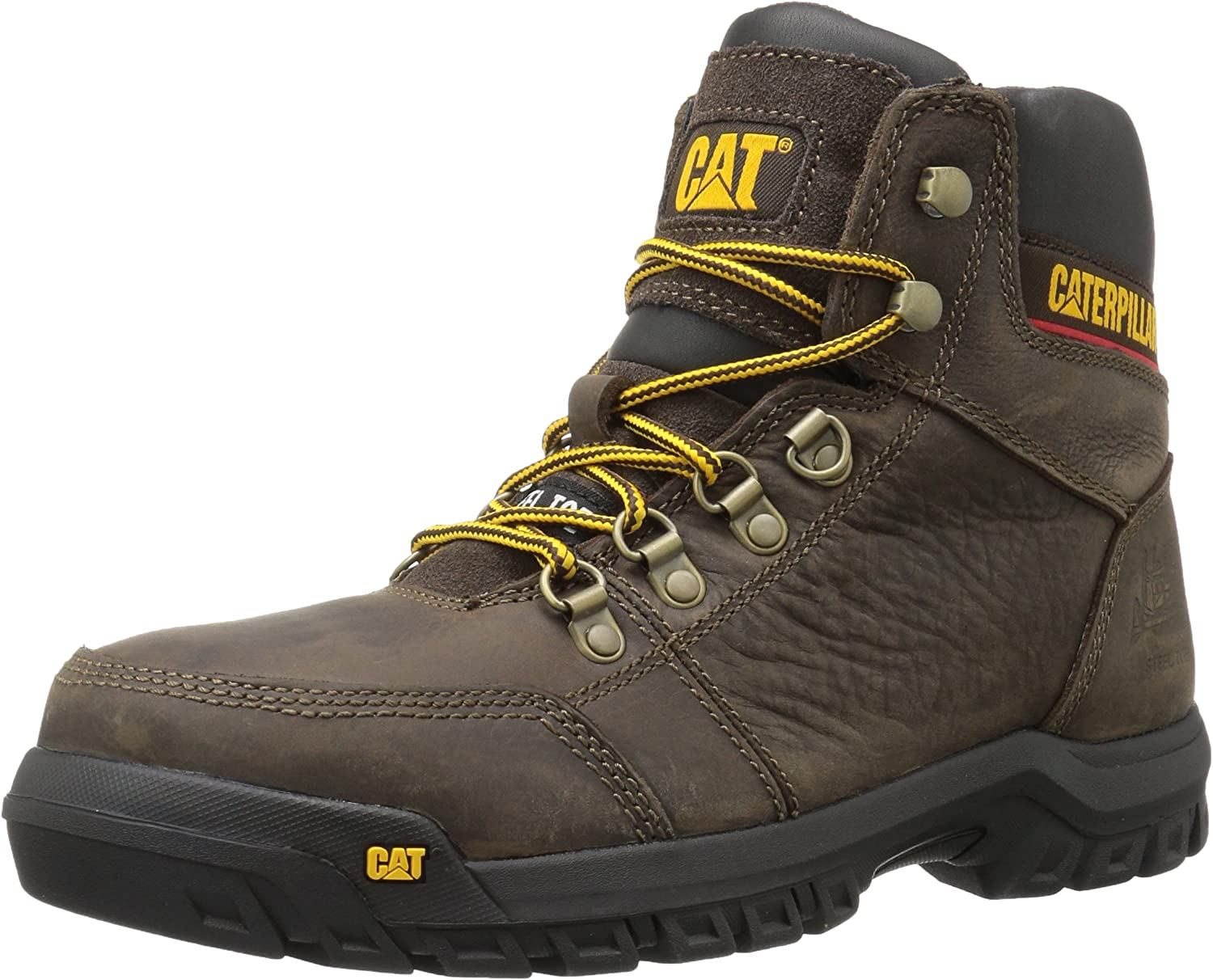B01FTFMQU2 Caterpillar Men's Outline Steel Toe Work Boot, Seal Brown, 9.5 W US 81DKQQguaHL.UL1500_