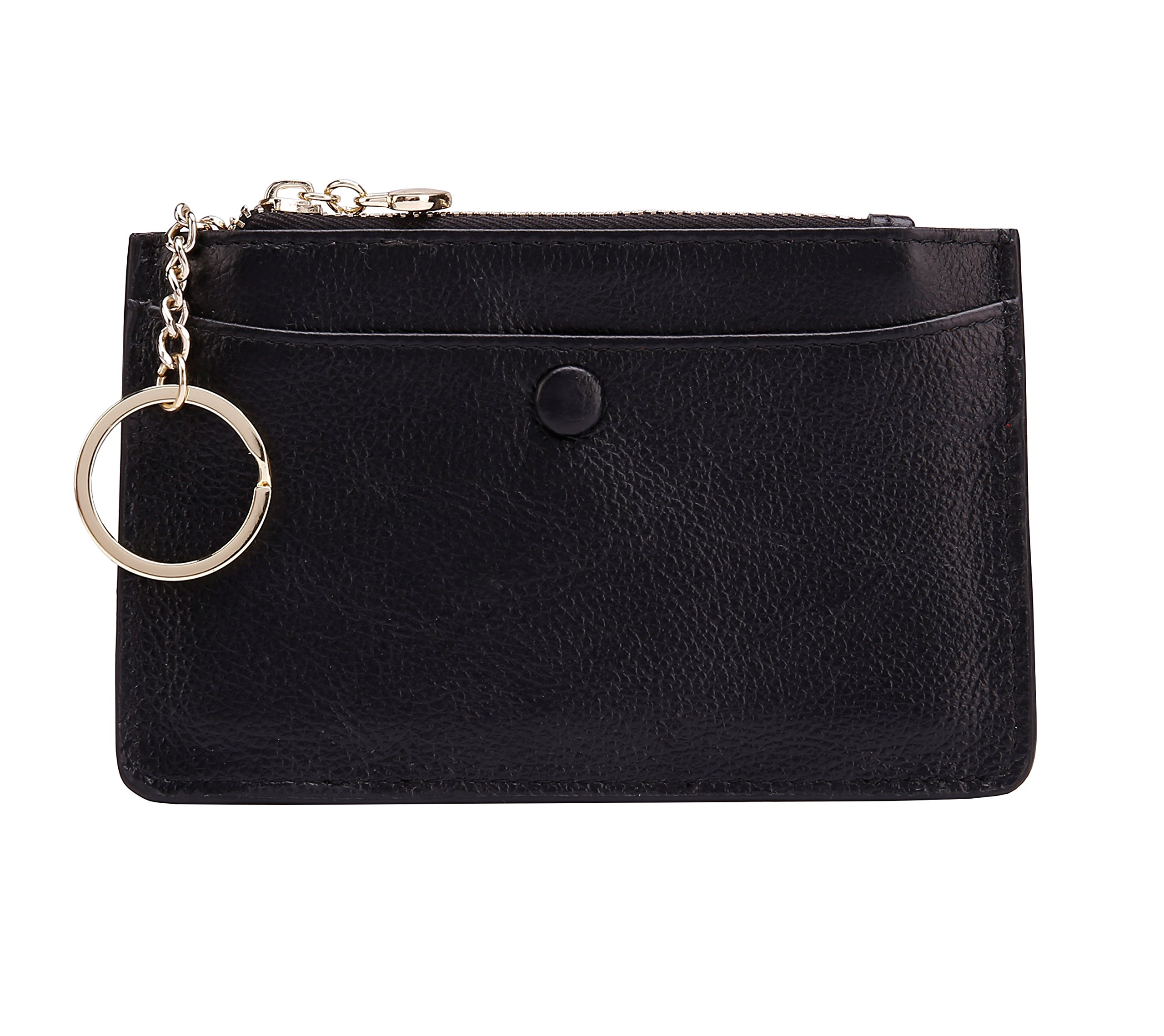 ZORESS Women Leather Mini Coin Purse Card Case With Key Ring Zipper Card Holder Wallet(Black)