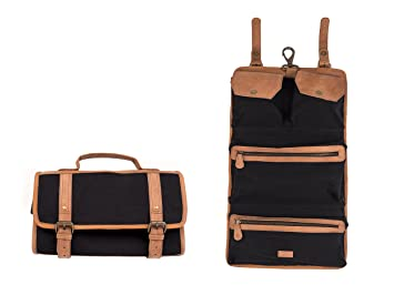 d899f3273a Amazon.com   Dwellbee Canvas and Leather Hanging Toiletry Bag (Black  Canvas