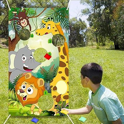 10 Childrens Kids Safari Animal Carry Food Picnic Birthday Party Bag Boxes