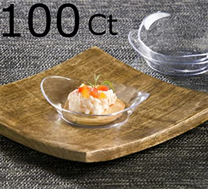 100 Clear Plastic Mini Dessert Plates - Small Plates Cocktail Party Plates Relish Dishes Sushi Pie & Amazon.com   100 Clear Plastic Mini Dessert Plates - Small Plates ...