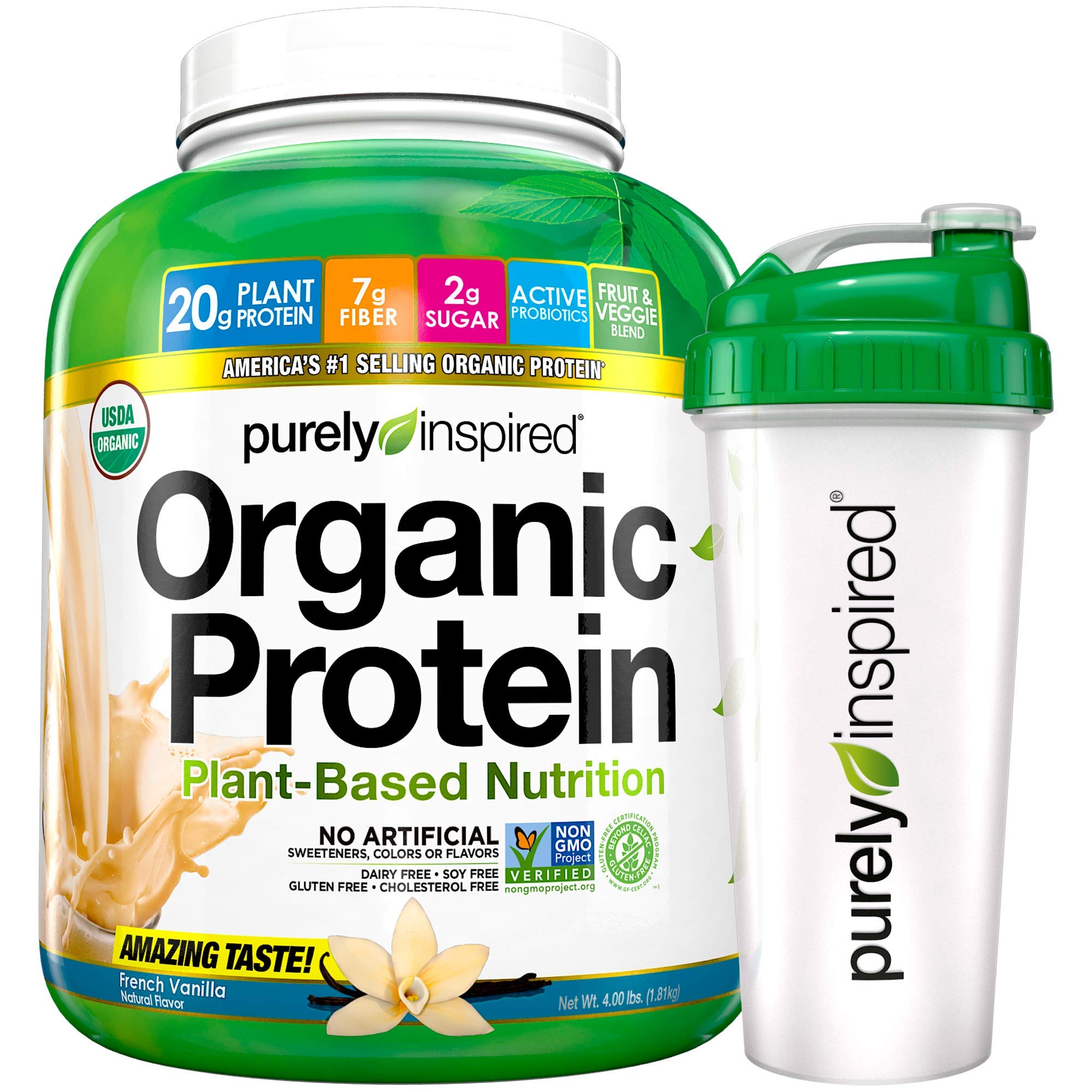Purely Inspired Organic Protein Shake Powder + Shaker Bottle, 100% Plant Based with Pea & Brown Rice Protein (Non-GMO, Gluten Free, Vegan Friendly), French Vanilla, 4lbs by Purely Inspired