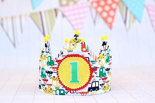 Corona de cumpleaños bebés y niños con dibujos de coches ...