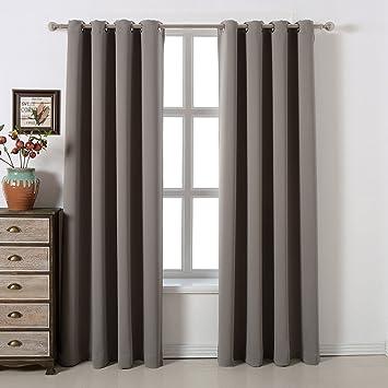 Blackout Bedroom Curtains Set By AMAZLINEN U2013 100% Polyester Grommet Top  Room Darkening Panels U2013