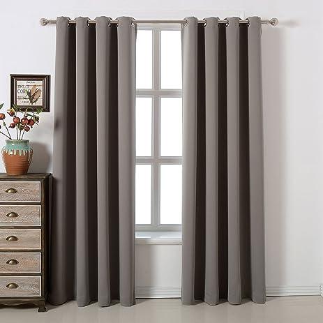 Amazon.com: Blackout Bedroom Curtains Set 100% Polyester Grommet ...