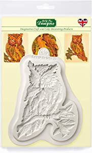 Katy Sue Designs Autumn Leaf Owl Silicone Mold for Cake Decorating, Cupcakes, Sugarcraft, Candies, Clay, Crafts and Card Making, Food Safe