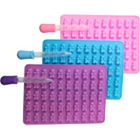 Moldes de silicona para caramelos, 50 cavidades con 3 unidades, Ideal para gomitas, hielo, chocolates. Incluye GRATIS 3…