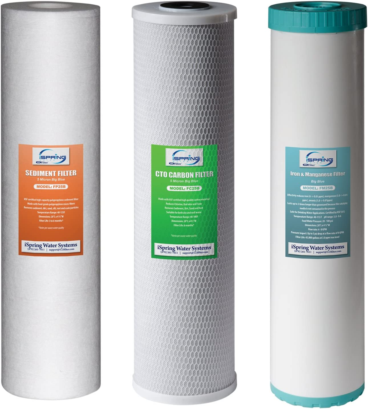 """iSpring F3WGB32BM 4.5"""" x 20"""" 3-Stage Whole House Water Filter Set Replacement Pack with Sediment, CTO Carbon Block, and Iron & Manganese Reducing Cartridges Fits WGB32BM"""