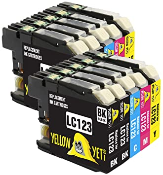 Yellow Yeti Reemplazo para Brother LC123 10 Cartuchos de tinta ...