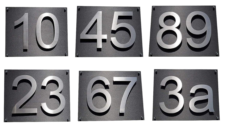 0 1 2 3 4 5 6 7 8 9 mit Zusatzbefestigung und 1 x Acryplatte 35cm x 28cm in diamant-anthrazit Hausnummer Hausschild Edelstahl H20cm 200mm in 2D Design Arial
