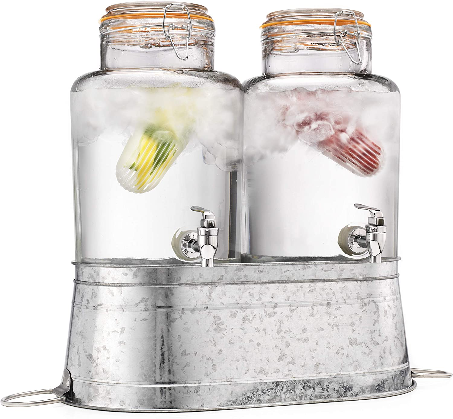 Classic Home Two (2) 1 Gallon Each Quality Ice Cold Clear Glass Jug Beverage Dispensers Hermetic Seal Galvanized Stand Display