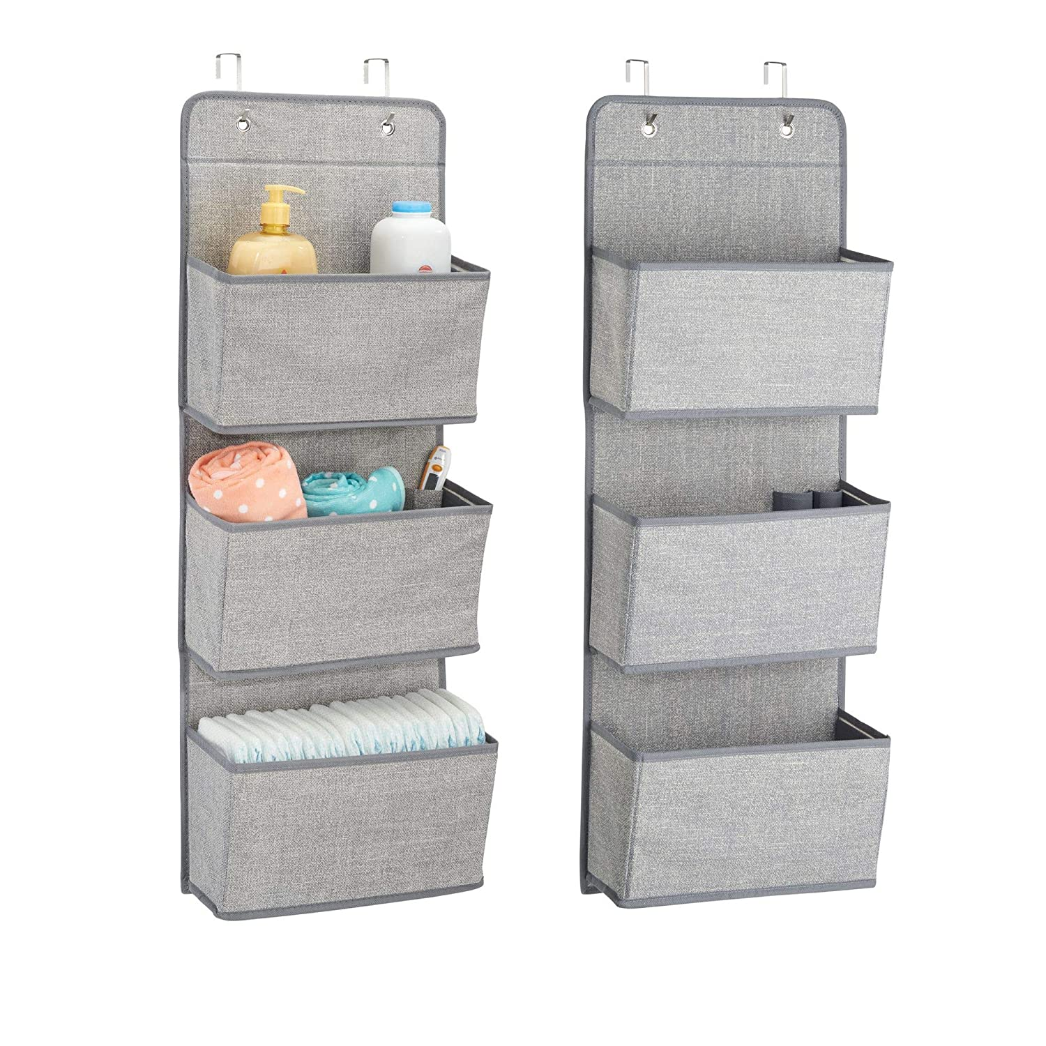 mDesign Over Door Fabric Baby Nursery Closet Organizer for Stuffed Animals, Diapers, Wipes, Towels - Pack of 2, 3 Pockets Each, Gray MetroDecor 7630MDB