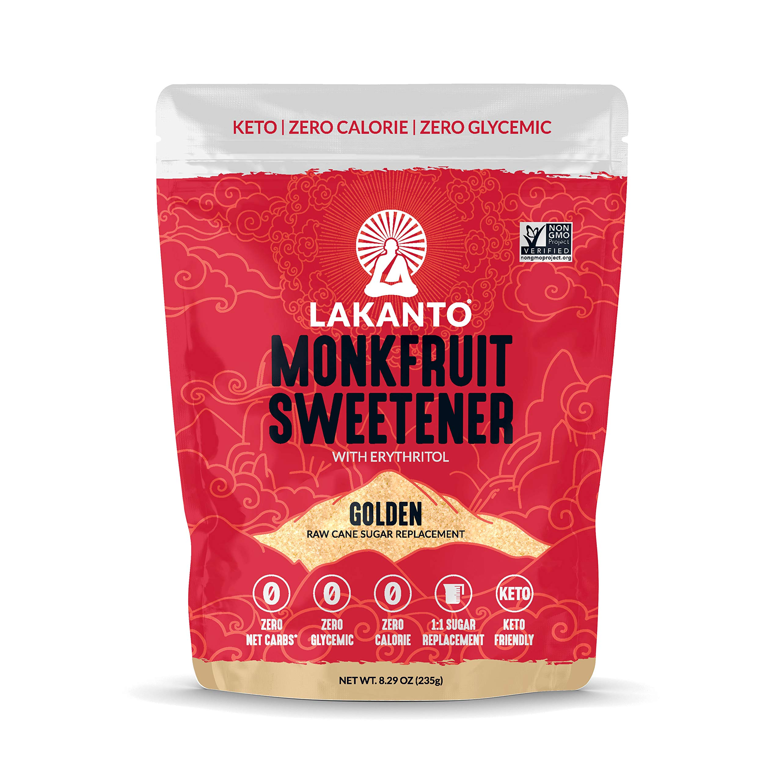 Lakanto Monkfruit Sweetener - 1:1 Raw Cane Sugar Substitute, Zero Calorie, Keto Diet Friendly, Zero Net Carbs, Zero Glycemic, Baking, Extract, Sugar Replacement (Golden - 8.29 ounces)