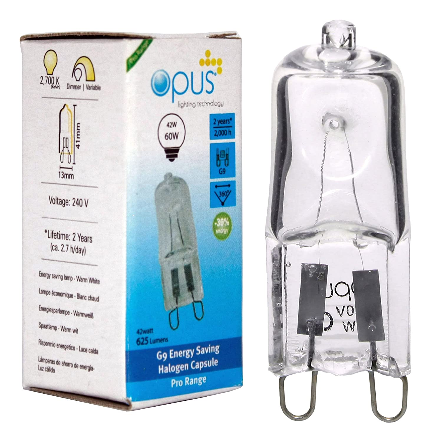 Opus G9 42W = 60W 240V Mains Clear Long Life Eco Halogen Energy Saving Capsule Lamp Dimmable Light Bulb