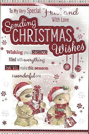 Husband Christmas Cards Uk.Husband Christmas Card With Love For My Husband Happy Christmas Bear Xmas Tree Extra Large Card By Prelude