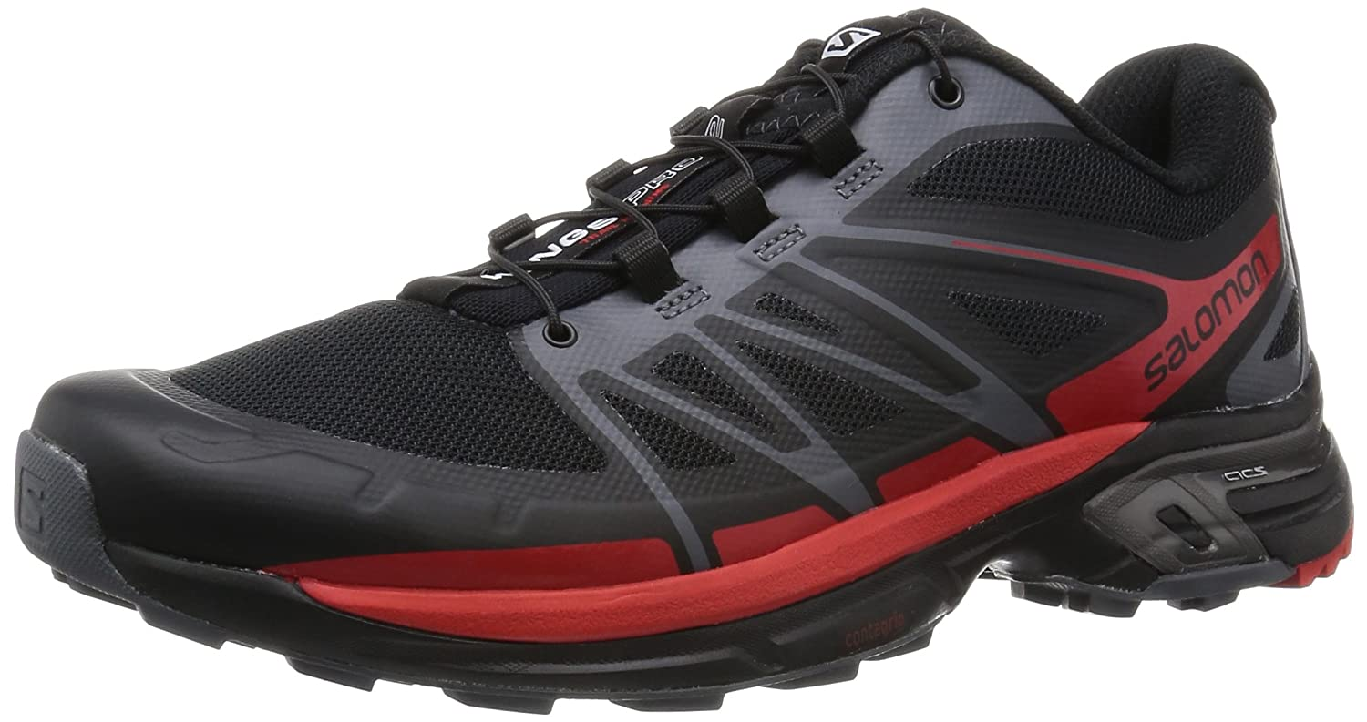 Salomon Men's Wings Pro 2 Trail Runner B00ZLNRTPA 11.5 F(M) UK/12 D(M) US|Black/Dark Cloud/Radiant Red