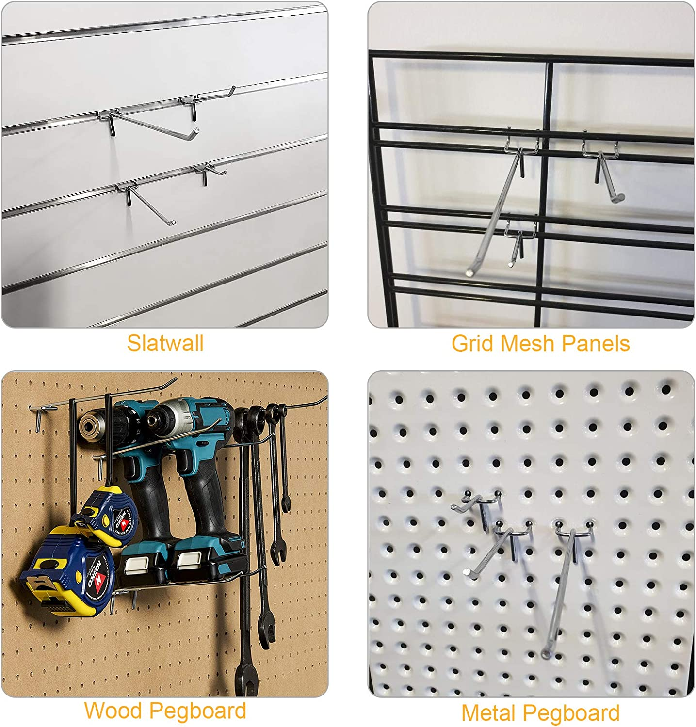 "6 inch 60Pcs Pegboard Shelving Hang Hooks Assortment for 1//8/""Metal Perforated Pegboard AConnet Metal Pegboard Hooks 2//4 20Pcs Per Size"