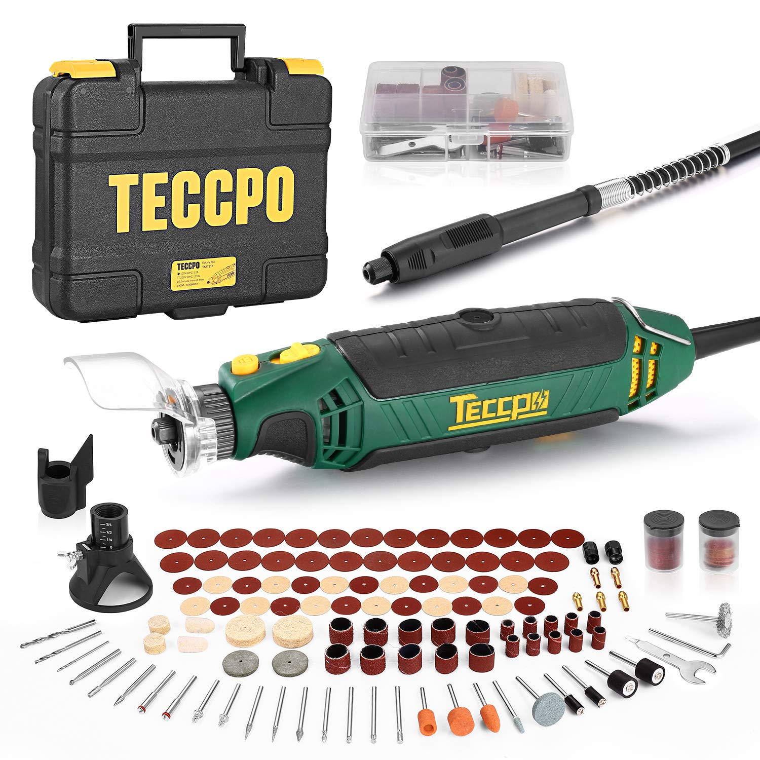 TECCPO Rotary Tool Kit, 110 Accessories, 4 Attachments, Carrying Case, 6 Variable Speed with Flex shaft, Protective Shield, Sharpening Guide, Cutting Guide, Ideal for Crafting Project and DIY