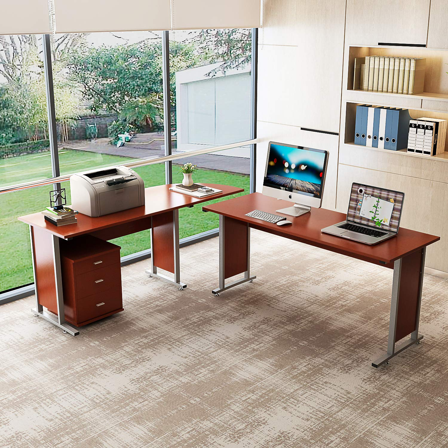 Details about Large Reversible Modern L-Shaped Desk with Cabinet Double  Corner Computer Desk