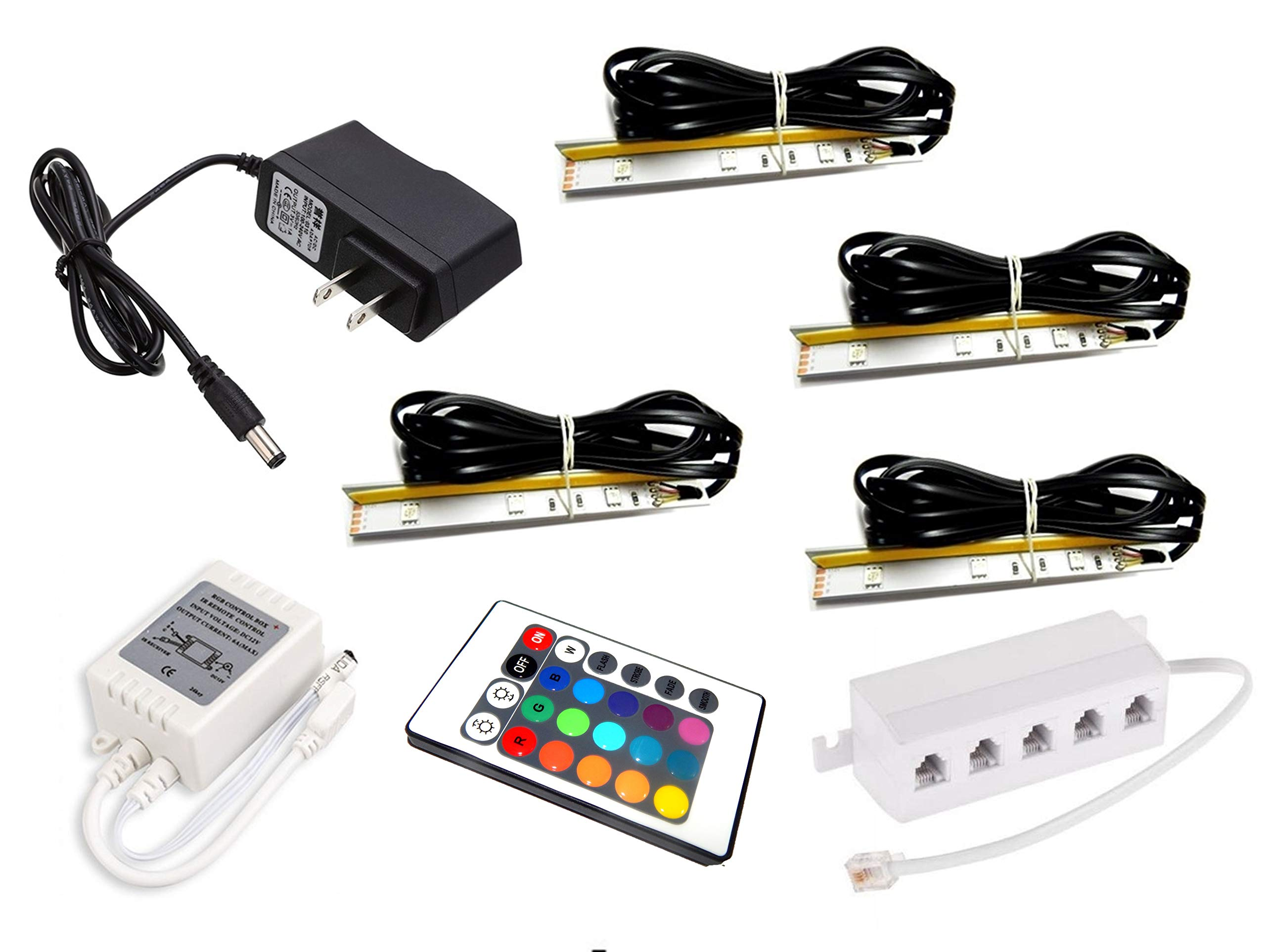 Set of 4 Clips LED Glass Edge Lighting kit in RGB Including Multi-Function Remote Control