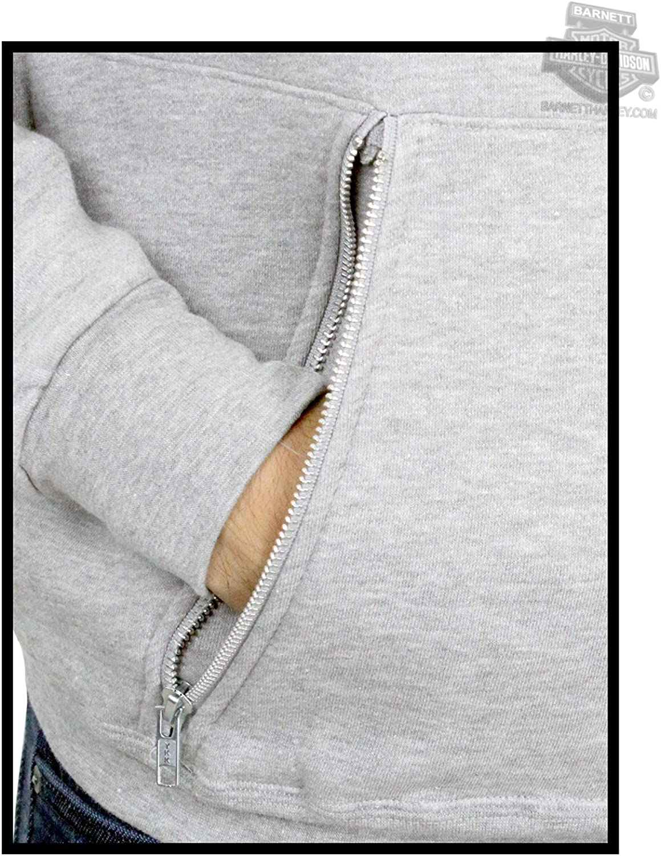 HARLEY-DAVIDSON Mens Cracked Plate Trademark B/&S Pullover Grey Long Sleeve Hoodie