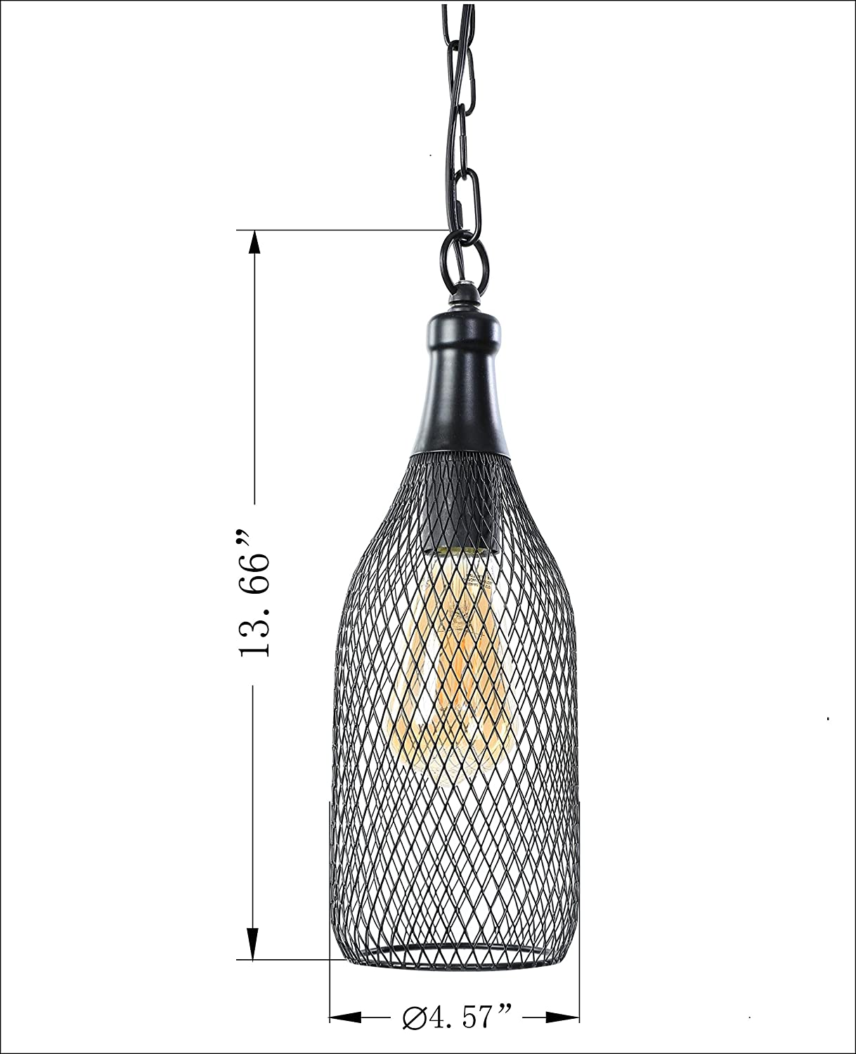 Metal Construction with Black Finish E26//E27 Medium Base LIT-PaTH Pendant Light Hanging Lantern Lighting Fixture for Kitchen and Dining Room Bulb not Included