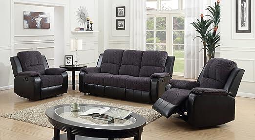 Tresillo reclinable con dos sillones Suite Pascara, gris y ...