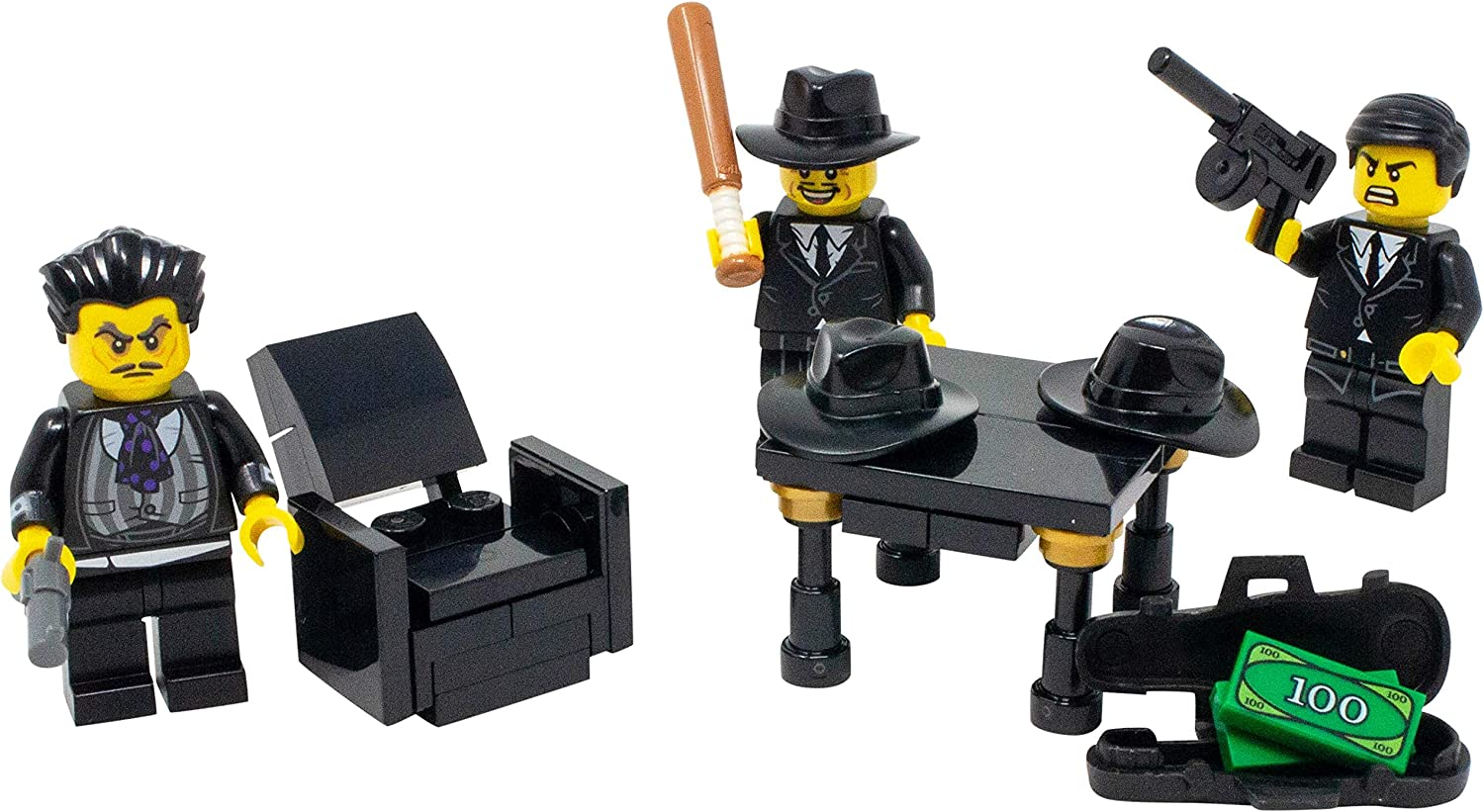 LEGO Mafia Mob Boss, Hitman, and Wise Guy Toy - Custom Criminal Gang Minifigure