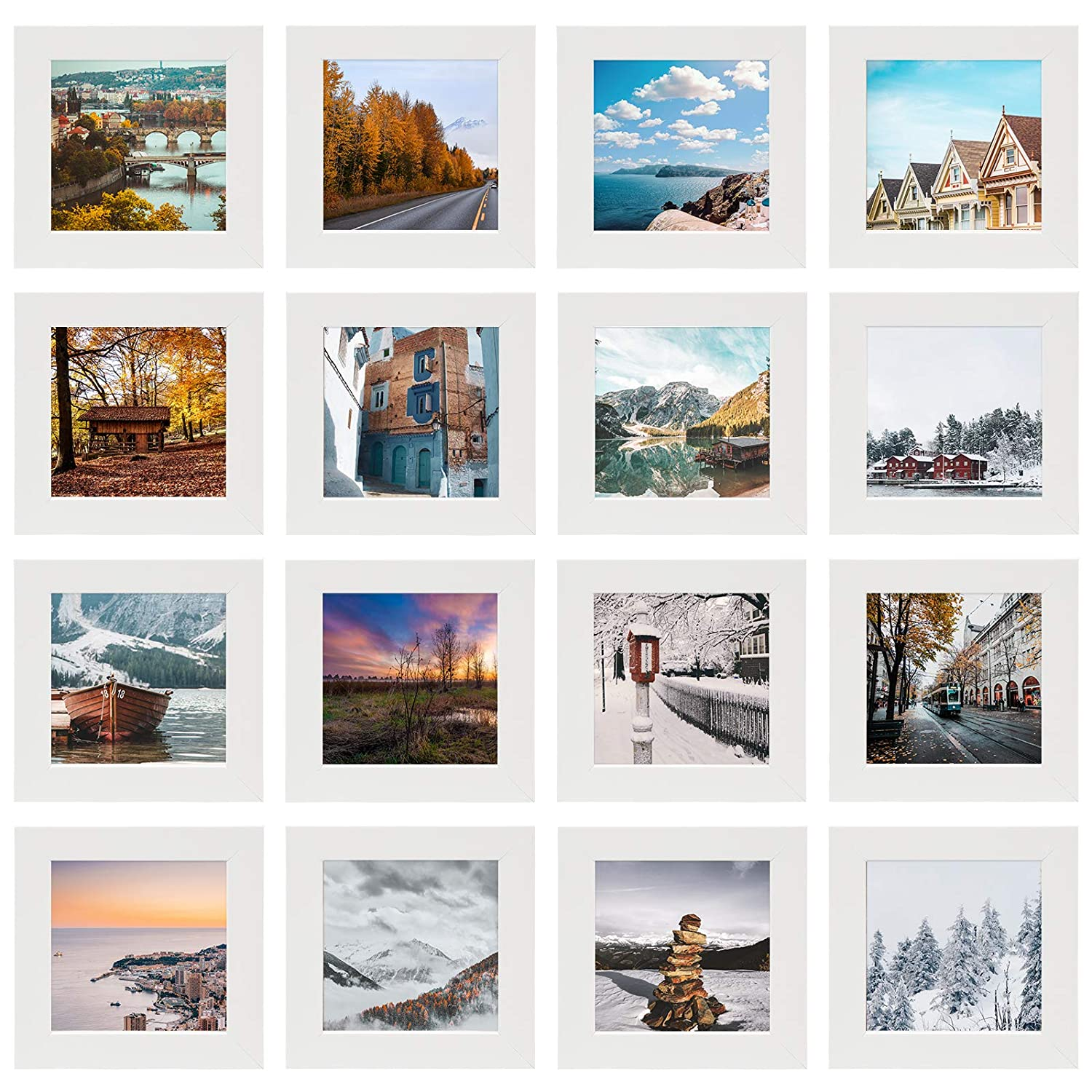 White Golden State Art 4x4-inch Square Photo Wood Frames Smartphone Instagram Frame Collection Set of 16
