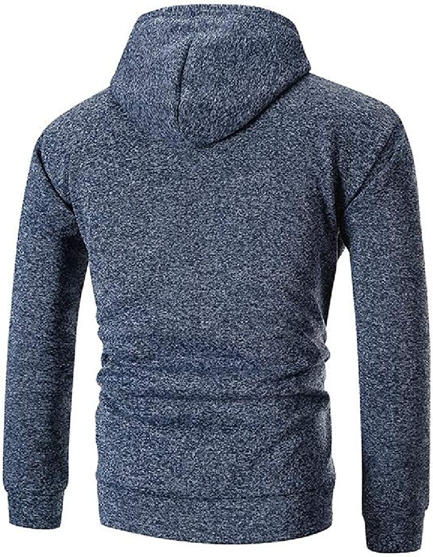 Generic Mens Casual Hooed Hoodies Thick Wool Warm Drawstring Jacket Coats