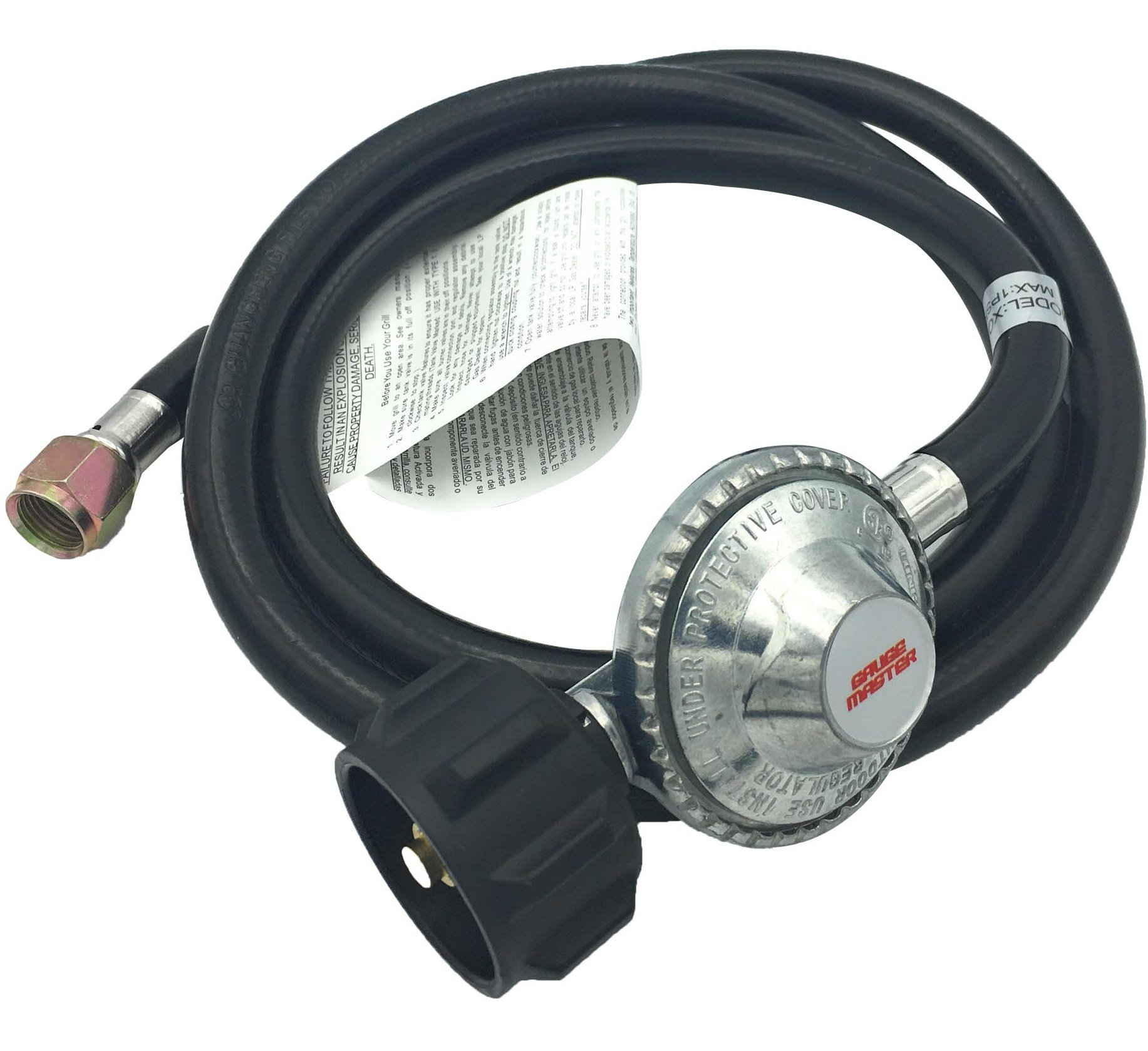 Gauge Master Premium 5 Foot Universal QCC1 Low Pressure LP Propane Regulator - BBQ Grill Replacement hose fits Most LP Gas Grills, Heaters and Fire Pit Table - 3/8'' Female Flare Nut (5 Feet)